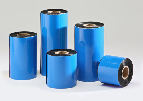 Rolls of Black Wax Thermal Transfer Ribbons.