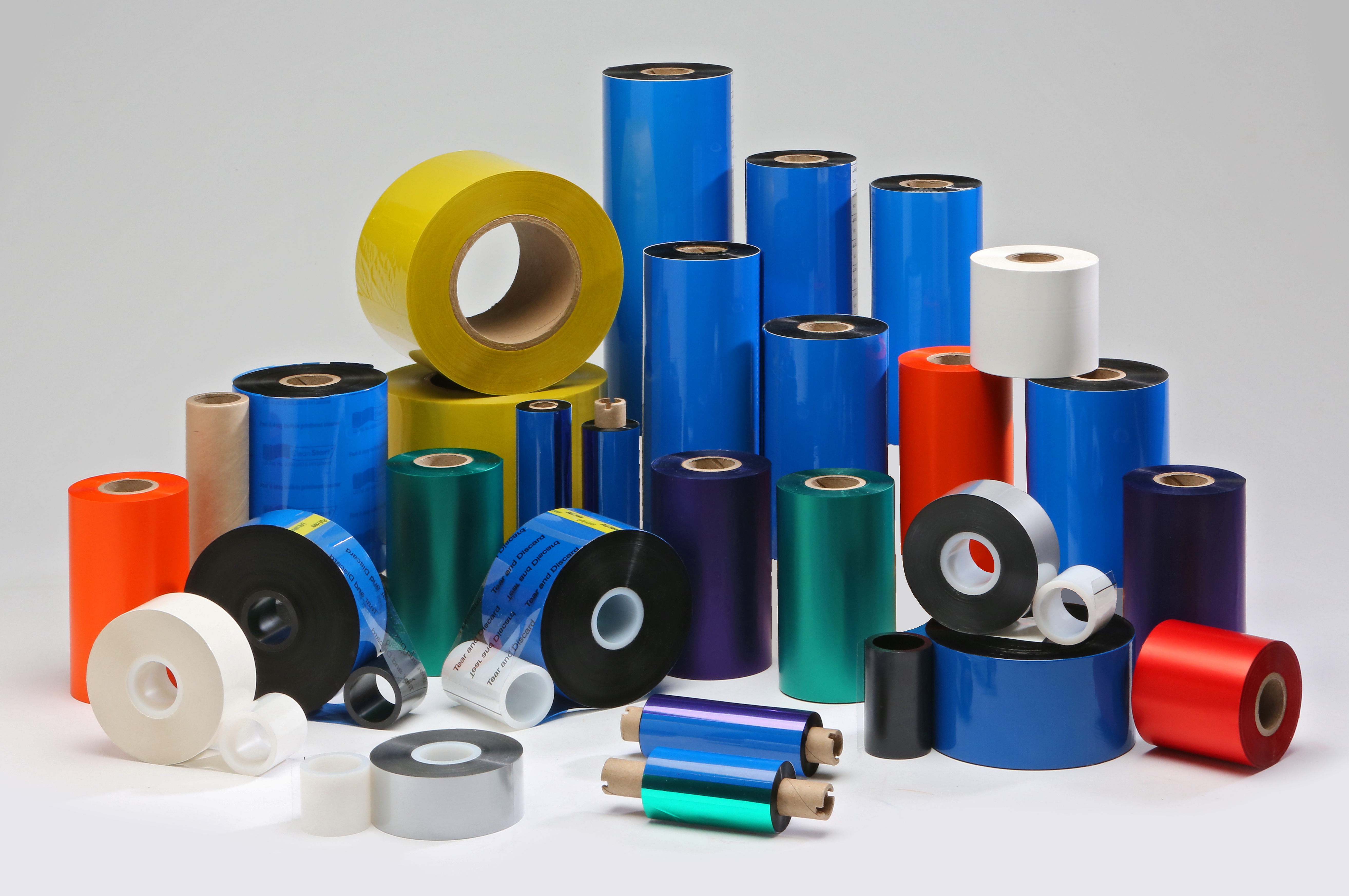 Rolls of Coloured Thermal Transfer Ribbons.