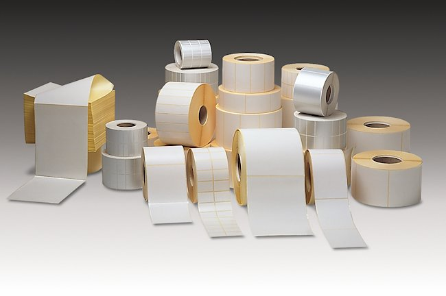 Rolls of plain white labels.